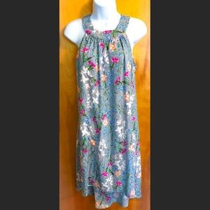 Maurices Striped Floral Hi-Low Dress Size: Small